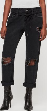 Alana Boyfriend Low Rise Ripped Jeans, Washed Black