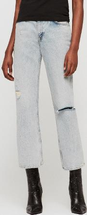 Ava Straight High Rise Ripped Jeans, Ice Blue