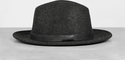 90a6657e4db allsaints Bronson Leather Fedora Hat