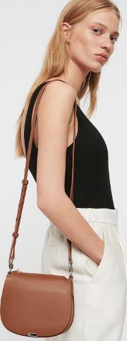 Captain Leather Small Round Crossbody Bag