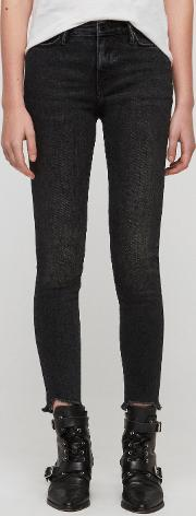 Grace Ankle Fray Skinny Mid Rise Jeans, Washed Black