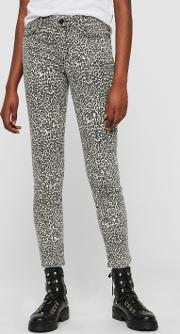 Grace Ankle Skinny Mid Rise Jeans, Leopard Print