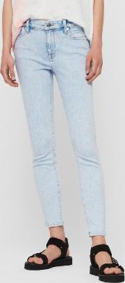 Grace Cropped Skinny Mid Rise Jeans, Snow Blue