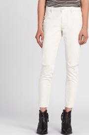 Lola Cropped Skinny Mid Rise Jeans, Chalk White