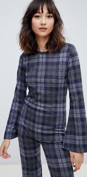2ndday checked knit blouse