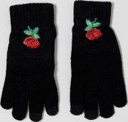 rose floral embroidered smart touch gloves