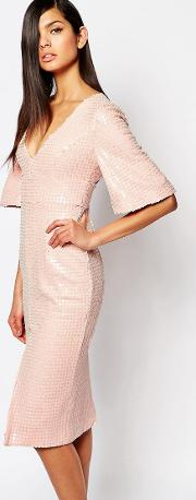 the luxe plunge neck pencil dress in all over sequin