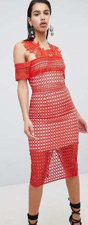 The Pencil Dress With Lace Embroide Detail