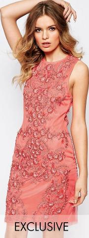 allover luxe baroque embellished mini dress