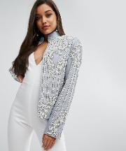 Chambray Trophy Jacket With Faux Pearl Embellishment