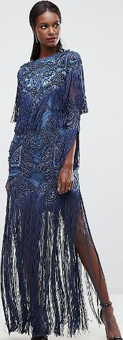 Embellished Embroidered Maxi Dress With Tassle Detail