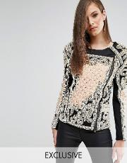 embellished jacket with quilted detail