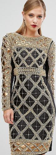 Embellished Midi Dress With Metallic Quilted Detail