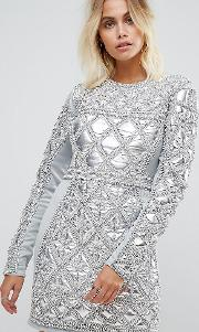 embellished mini dress with metallic quilted detail