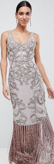 maxi dress with placement embellishment
