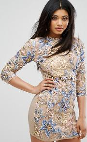 Mini Dress With Quilted Embroidery & Embellishment