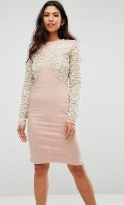 Pearl Embellished Front Bodycon Dress