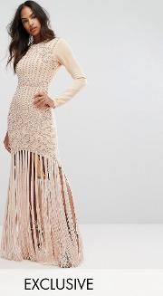 pencil dress with faux pearl baroque embellishment and tassle hem