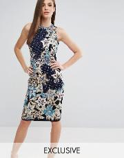 pencil dress with quilted embroidery & embellishment