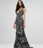Plunge Neck Maxi Dress With Contrast Embellishment