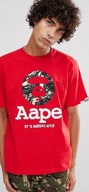 Aape By  Bathing   Shirt With Large Foil Logo  Red