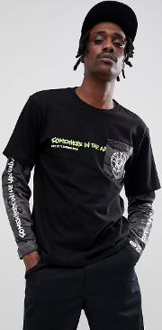 long sleeve layered t shirt with contrast camo