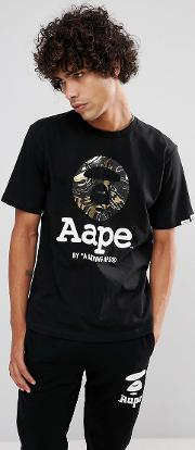 t shirt with large foil logo in black
