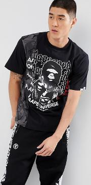 t shirt with universe panel print