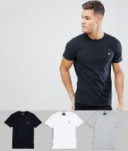 3 pack crew neck t shirt icon logo in