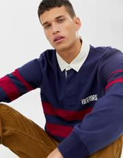Chest Stripe Logo Long Sleeve Rugby Polo Regular Fit
