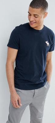large pop icon crew neck t shirt in navy
