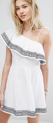 one shouldered ruffle embroidered dress