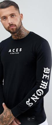 muscle long sleeve t shirt with arm print