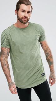 muscle t shirt in khaki suedette with biker sleeves