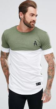 muscle t shirt in khaki with white panel
