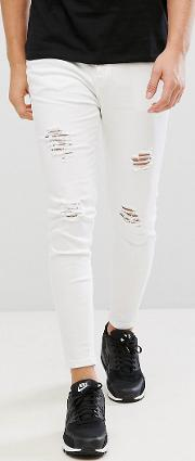 super skinny fit jeans  white with distressing