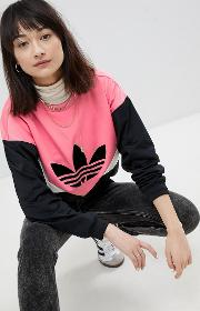 colorado panelled sweatshirt in black and pink