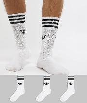 solid crew 3 pack socks in white s21489
