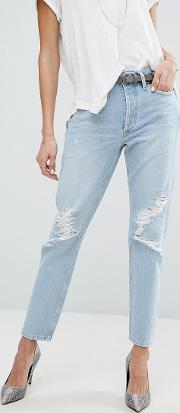 Jamie Hi Rise Straight Jean With Rips Ever