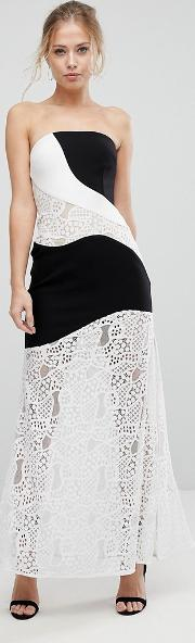 maxi dress with monochrome and lace detail