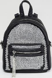backpack with crystal studding detail and tassels