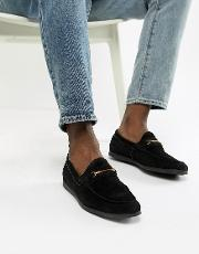 Frelacia Suede Metal Bar Loafers