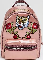 grawn satin backpack with tiger & rose patches