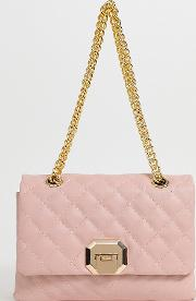 Menifee Light Quilted Cross Body Bag With Double Gold Chunky Chain Strap