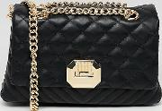 Menifee Quilted Cross Body Bag With Double Gold Chunky Chain Strap
