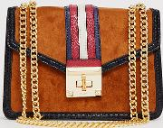 Prede Suedette Shoulder Cross Body Bag With Strap Contrast And Chain