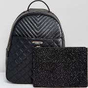 Ventea Quilted Backpack With Removeable Pouch