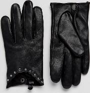 Stud Leather Driving Gloves