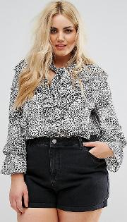 blouse with frill layers in leopard