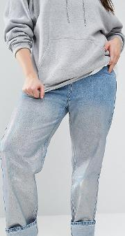 Boyfriend Jeans With Silver Coating